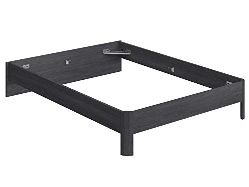 Movian Indre Modern - Base para cama de matrimonio con cabecero bajo, 194,5 x 144,5 x 31,7 cm (gris)