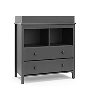Storkcraft Alpine 2 Drawer Changing Table Chest | Attached Changing Table Topper Fits Any Standard-Size Baby Changing Pad, 2 Drawers, 2 Shelves for Extra Nursery Storage, Easy to Assemble, Gray