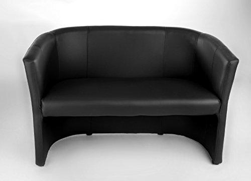 H&S Sitz Bank 2 sitzer Clubsessel Cocktailsessel Sessel Loungesessel Club Möbel Bürosessel Praxismöbel schwarz