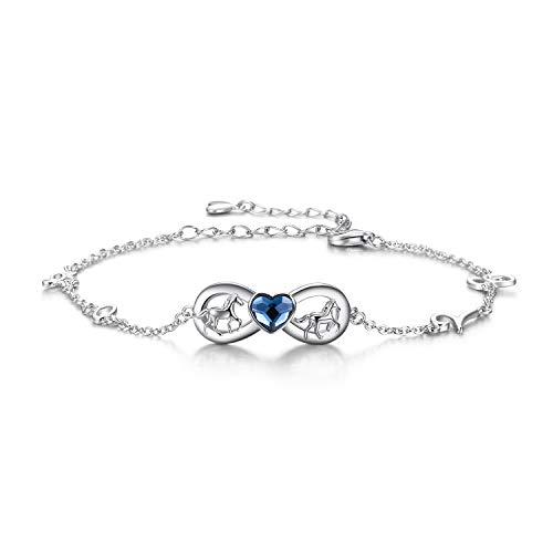 Sterling Silber Pferd Infinity Love Armband mit Blauen Kristallen, Pferdeschmuck Geburtstagsgeschenke für Mädchen Frauen Tochter Pferdefreund (Blue)
