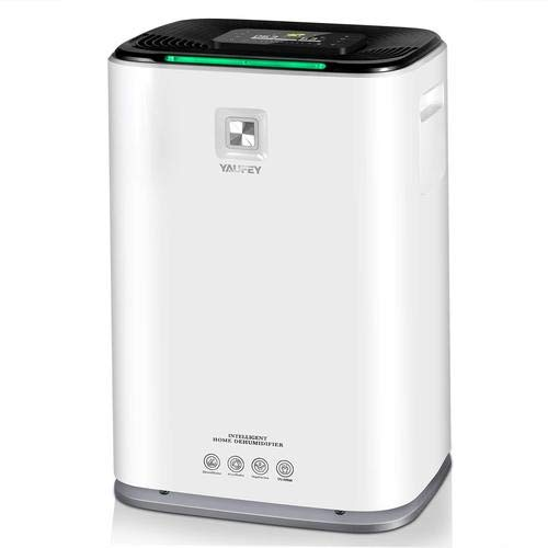 yaufey 70 Pint Dehumidifier for Home Space up to 5000 Sq Ft, 9 Gallons/Day, Intelligent Touch Control, Auto Timing, Drain Hose and Wheel for Basements Bathroom Bedroom