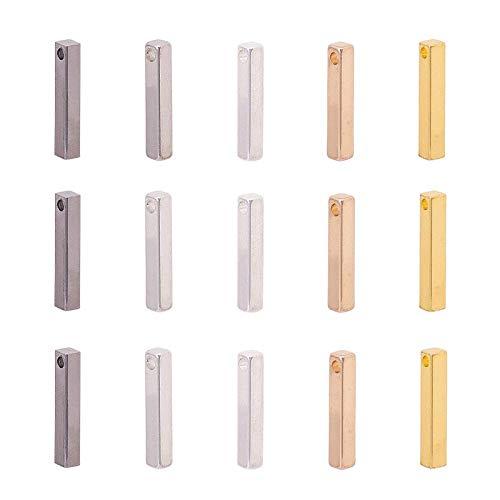 YuuHeeER 5 colori Cuboid ottone vuoto timbratura tag ciondolo ciondolo per orecchini 30 pezzi gioielli kit