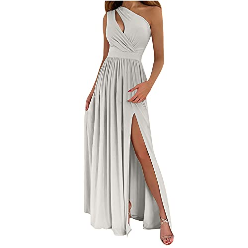 Women Off Shoulder Dress Hollow Out Side Split Maxi Dresses Solid Color Sexy Elegant Pleated Long Skirts