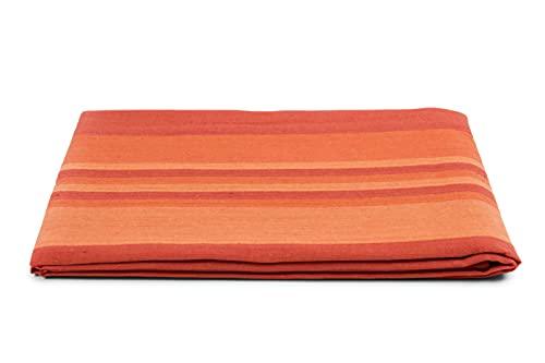 HomeLife Frühlings-Sommer-Tagesdecke aus Piqué [220 x 260], hergestellt in Italien, Französische Baumwolle, gestreift, Tagesdecke für französisches Bett, 1,5 P, Orange