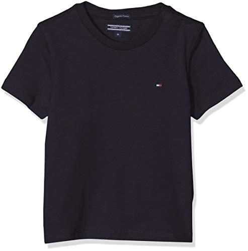 Tommy Hilfiger T Camiseta Básica de Manga Corta, Azul (Sky Captain), 98 (Talla del Fabricante: 3) para Niños