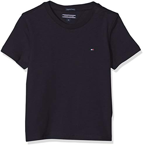 Tommy Hilfiger Jungen Boys Basic Cn Knit S/S T-Shirt, Blau (Sky Captain 420), 128 (Herstellergröße: 8)