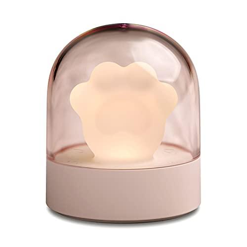 Luz Nocturna Infantil USB Creativo Lindo Gato Pata lámpara Cargando mesita de Noche lámpara de música luz Nocturna lámpara de atmósfera de Dibujos Animados,Pink