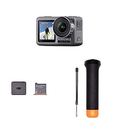 DJI Osmo Action Cam Digitale Actionkamera mit 2 Bildschirmen 11m wasserdicht 4K HDR-Video 12MP, Schwarz + Action Part 1 Ersatzakku für DJI Osmo Action Kamera + Action Part 13 Rutschfester Griff