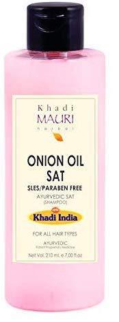 Glamorous Hub Khadi Mauri Herbal Onion Oil Shampoo espesa y fortalece el cabello sin parabenos y sin parabenos enriquecido con amla y queratina 210 ml (el empaque puede variar)
