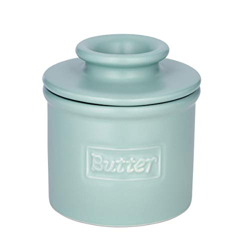 Butter Bell - The Original Butter Bell Crock by L. Tremain, French Ceramic Butter Dish, Café Matte Collection, Aqua
