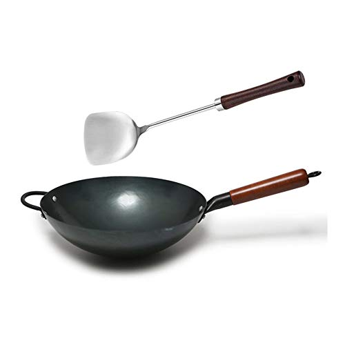 Chinese Household Traditional Hand Hammered Carbon Steel Iron Wok (SUS340 stainless Spatula Included) for Gas Stoves,with Wooden Handle &Steel Helper,No Coating,Black Seasoned(12.6 Inch, Round Bottom)