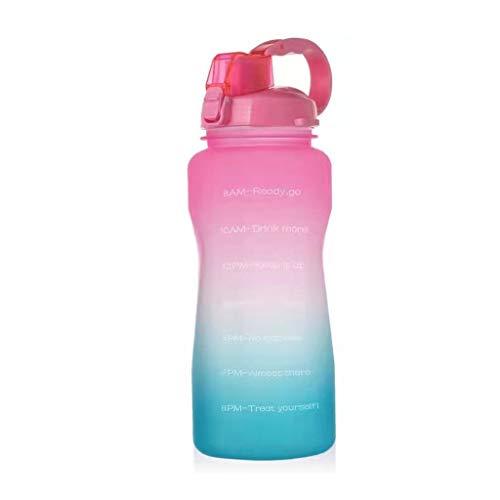 KOUJING Botella colorida de los deportes de la capacidad grande 2000ml del gradiente con la bebida portátil de la paja