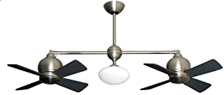 Metropolitan Modern Double Ceiling Fan in Satin Nickel with Light & Remote
