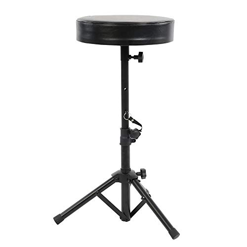 Pyle Padded Musician Stool-Drum/Guitar/Keyboard Performers Foldable Piano Seat w/Height Adjustable Foot & Seat, Non-Slip Rubber Feet, Round Foam Cushion PKST54