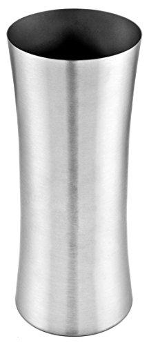 bella casa Blumenvase Vaso Stretto rund 10,5 x 25 cm Gross Silber Edelstahl konisch Bodenvase Dekovase Bogenvase deko Blumentopf Vase Gefäss