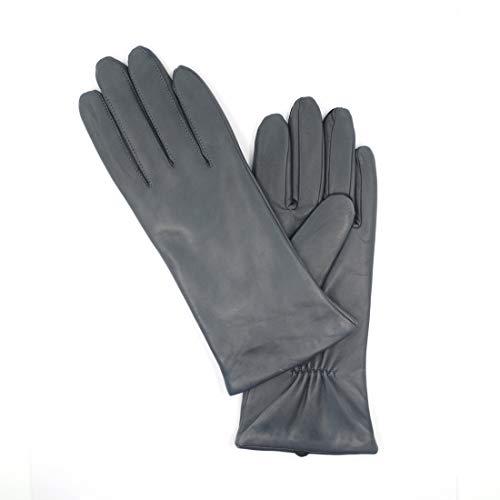 Harssidanzar Damen Italienische Lammfell Lederhandschuhe Kaschmir Gefüttert GL006,Grau,Größe L