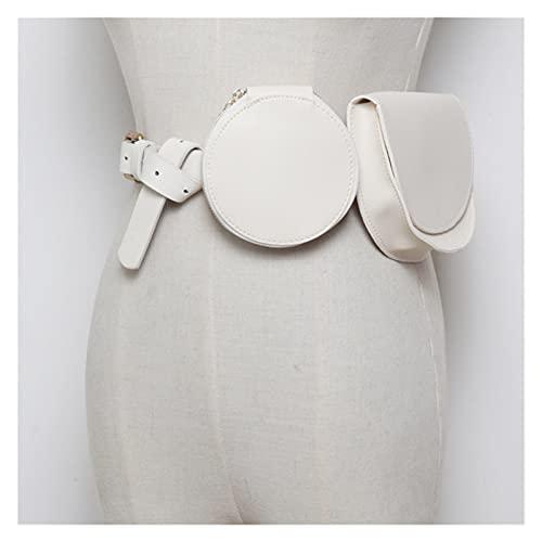 JIEERCUN Bolso Retro Luxury PU Cuero Bolsa de cinturón de Las señoras Diseñador de Moda Mini Bolsa de Pecho Redondo Femenino Bolsa Casual Monedero riñonera (Color : White Waist Bags)