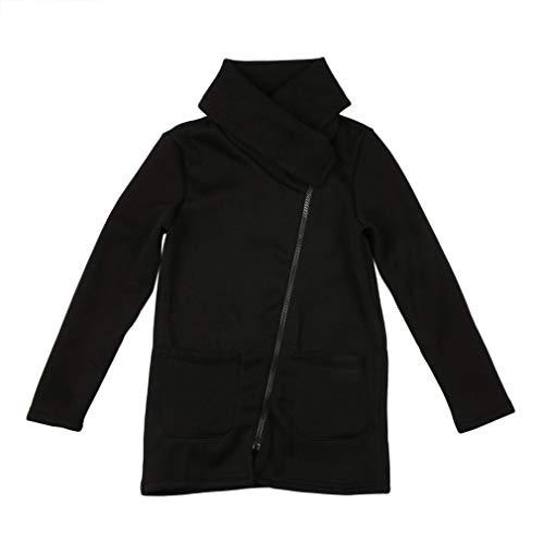 Herfst Winter Dames Jas Jas Lange mouw Turndown Hals Losse vrouwelijke jas Jassen Mode zijritsen Warme jassen Zwart