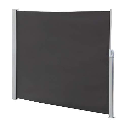 Melko Seitenmarkise ausziehbar 160x300cm Markise Anthrazit Polyester Sichtschutz Seitenrollo Windschutz Seitenrollo