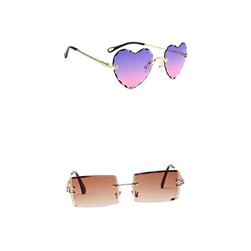 F Fityle Gafas de Sol Sin Montura para Mujer Vintage Gafas con Lentes Teñidas de Diseñador Protección UV