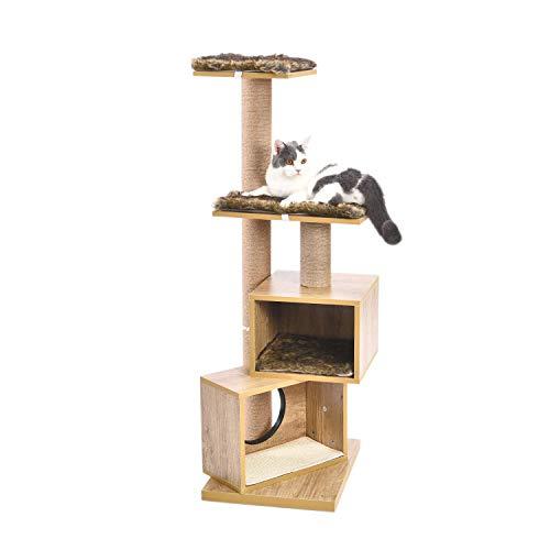 Eono Essentials Madera Moderno Árbol para Gatos Rascador para Gato Postes de Sisal Doble Casa Árboles de Actividades con Desmontable Lavable Colchonetas Muebles de Gatito Altura 49''