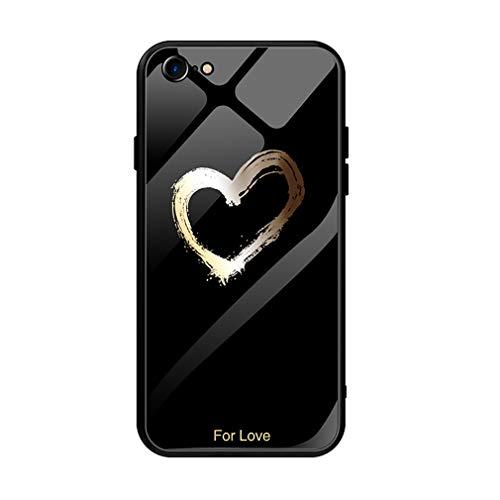 Yunbaozi Vidrio Modelada Funda para iPhone 6 Plus/6s Plus, Espalda Vidrio Real con Encuadrar TPU Silicona Anti-Rasguños iPhone 6 Plus/6s Plus Glass Case por Amor Negro