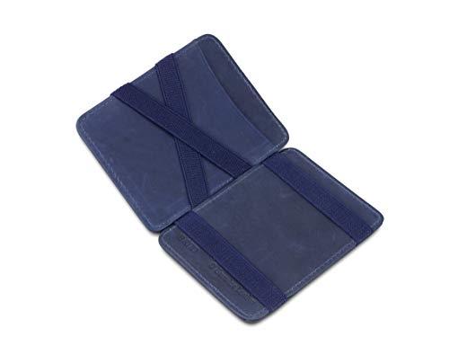 Hunterson Flacher Geldbeutel Fuer Herren aus Leder, Magic Wallet mit RFID-Schutz, Geldboerse mit Muenzfach und Platz Fuer 8 Karten, Blue