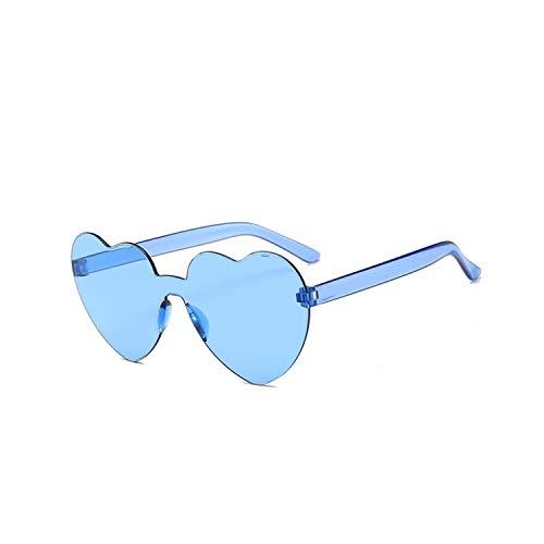 Occhiali sportivi, occhiali da golf da pesca, New Fashion Cute Sexy Retro Love Heart Rimless Sunglasses Women Luxury Brand Designer Sun Glasses Eyewear Candy Color UV400 Blue