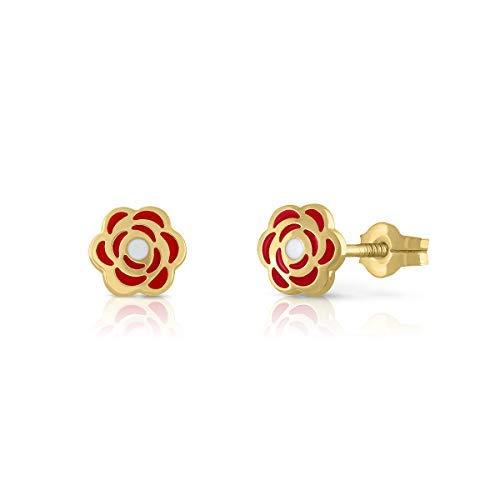Orecchini in oro Sterling, per bambina o donna, con fiore smaltato in due colori. Misura del gioiello 6 mm. Scegli la sua chiusura, la filettatura o la pressione. e Oro giallo,