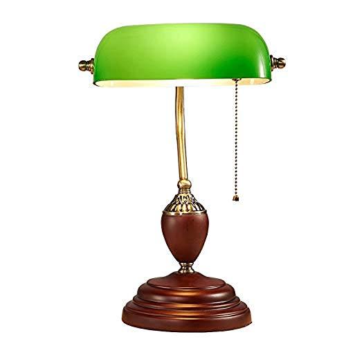 FFLJT Vintage Einfache Kupfer Tischlampe American Edison Metall Schreibtischlampe Kreative Tragbare Zugschalter Glas NachttischlampeRetro Studie Leselampe Ankleidezimmer Schlafzimmer Bibliothek Tischl