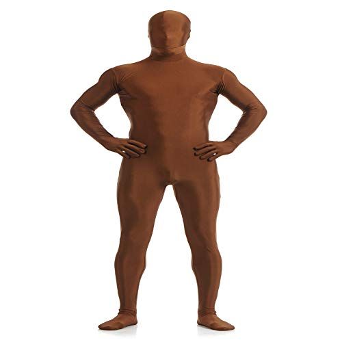 IWEMEK Herren Zentai Jumpsuit Second Skin Kostüm Full Bodysuit Zipper Catsuit Overall Reißverschluss Bodys Clubwear Männerbody Ninja Cospaly Karneval Halloween Ganzkörperanzug Nachtwäsche Braun XL