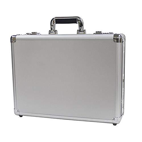 XHHWZB Swiss Aluminium Aktenkoffer gepolstert Laptop Aktenkoffer Combo Lock Hartschalenkoffer Portable Equiment Werkzeugkoffer Silber