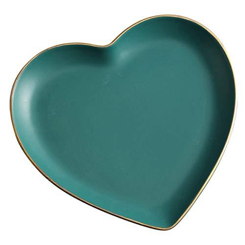 Platos de 8 Pulgadas cerámica en Forma de corazón doméstico Creativo, Simple, clásico y Exquisito Opcional de Dos Colores Colores Ricos (Color : Green, Size : 21×18.7×2.4cm)