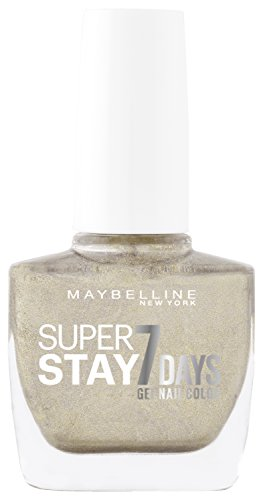 Maybelline New York Make-Up Superstay Nailpolish Forever Strong 7 dagen Finish Gel Nagellak/kleurlak met ultra sterke grip zonder UV-lamp in glinsterend goud, 1 x 10 ml Gold all Night