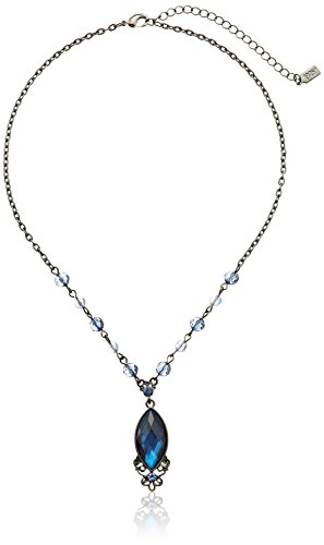 "1928 Jewelry Hematite-Tone Blue Pendant Necklace, 16"""