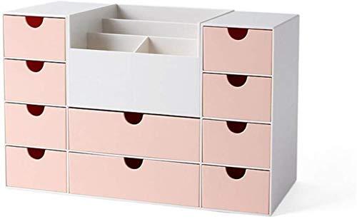 Zfggd Escritorio Caja de almacenaje del cajón for Oficina Acabado Cuadro de joyería plástica cosmética de Escritorio Caja de Color Rosa