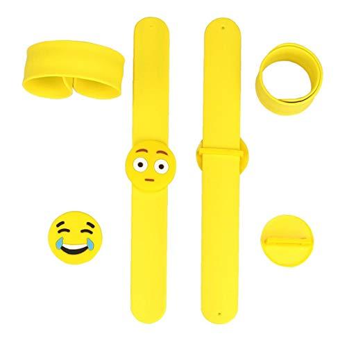Emoji Snap Bracelet 14 pcs Silicone Rubber Bracelets Wristbands Kids Slap Bracelet Novelty Party Toys for Party Favours Supplies Decor School Class Rewards Funny Kids Party Bag Gifts