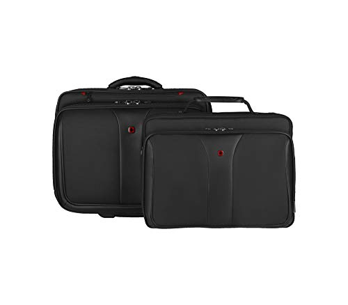 Wenger 600662 PATRIOT 17 Inch 2-Piece Business Wheeled Laptop Briefcase, Padded Laptop Compartment with Matching 15.4 Inch Laptop Case in Black {25 Litre}