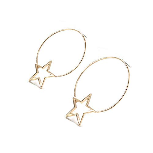 Fashion Women Pentagram Star Circle Drop Earrings Round Hoop Earrings Jewelry