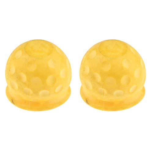 P Prettyia 2x Cubiertas de Protección de Remolque con Tapa de Bola de Remolque de Goma Universal para Camioneta de Automóvil Amarillo