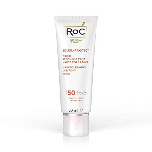 crema viso 50 spf antimacchie RoC - Soleil-Protect High Tolerance Comfort Fluid SPF 50 - Crema Idratante Viso - Crema Solare Ipoallergenica - Pelle Sensibile - 50 ml