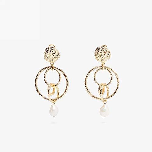 chenhe Pendientes Mujer Plata, Pendientes de Perlas barrocas Irregulares de imitación Retro, adecuadas para Orejas sensibles de joyería Anti-alérgica y sin níquel-Seducir