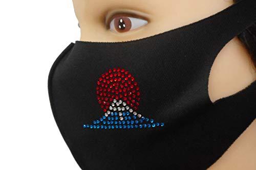 Shareki マスクアクセサリー マスクホットフィックス マスク キラキラ ラインストーン おしゃれマスク アイロン付着 ホットフィックスマスク 正月 賀正 日の出 hf-fuji-mask (富士山カラー:インディゴブルー, マスクカラー:ブラック)