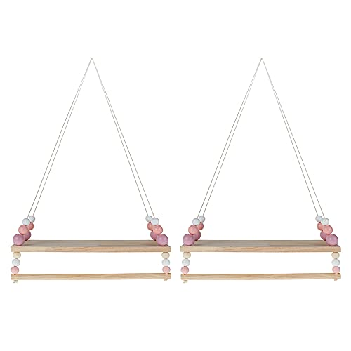 2 Packs Wooden Floating Shelves with String Rope Rustic Hanging Shelves Solid Wood Shelves Jute Rope Shelf Small Kitchen Shelves Home Wall Decor Swing Rope for Living Room Bedroom ,Pink