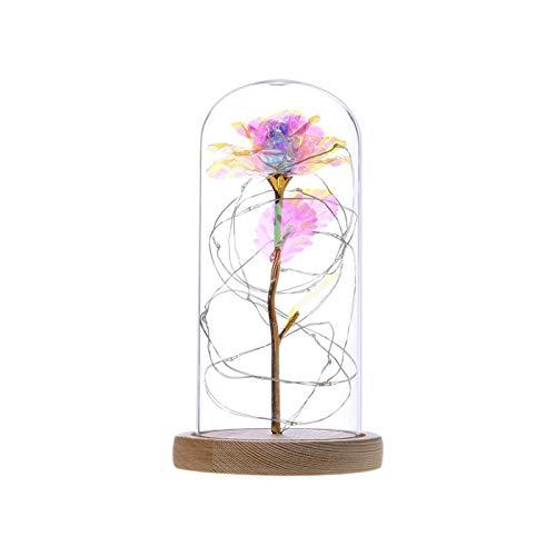 YSVSPRF Luz de Nocturna Belleza Rose lámpara LED Botella luz del Escritorio de la lámpara Noche romántica de la Flor del Regalo de cumpleaños Decoración con Pilas (Lampshade Color : PP)