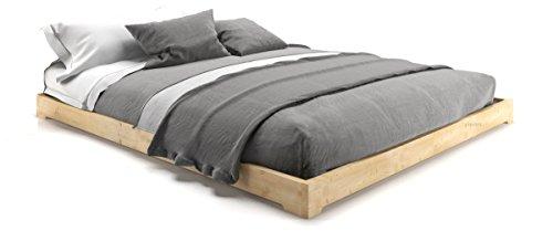 cinius Aus Holz Bett, japanische Bett, Modell Nokido 140x200 mit Lattenrosten, ohne Behandlung Farbe