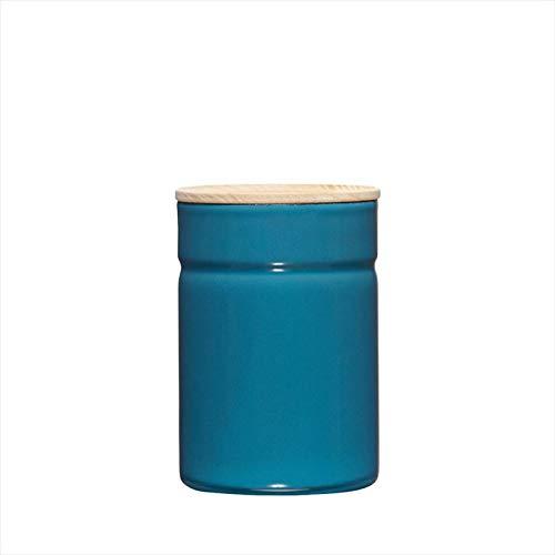 Riess, 2172-200, Vorratsdose mit Eschenholzdeckel, Durchmesser 8 cm, Höhe 12 cm, Inhalt 525 ml, SILENT BLUE, KITCHEN-MANAGEMENT, Truehomeware, Emaille