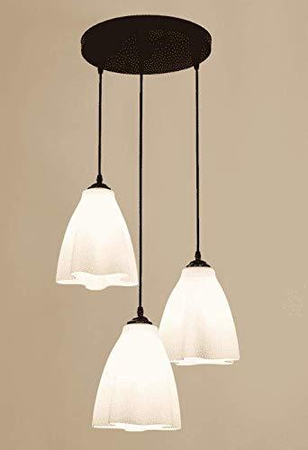 Thorecrdh Einfache, moderne LED-Persnlichkeit Kronleuchter, Esszimmer drei Kronleuchtern, Amerikanische lndliche Kreativen runden Esstisch, Esszimmer Lampe, Disk [3 weißen Glhlampen]