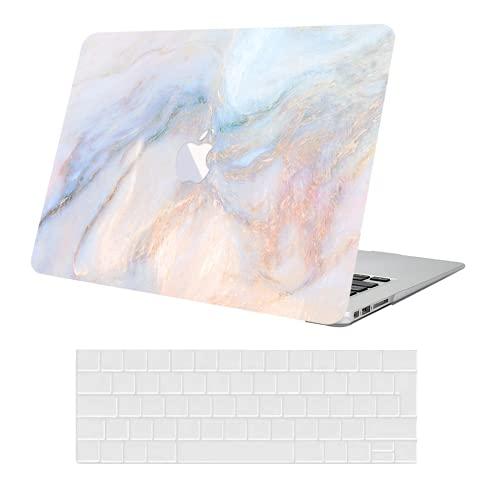 KEROM Carcasa rígida de plástico para MacBook Pro 13 2020-2016 modelo M1 A2338 A2289 A2251 A2159 A1989 A1708 A1706, carcasa y protector teclado nuevo 13, color rosa azul mármol