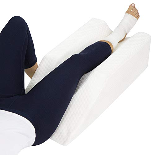 Xtra- Comfort Leg Elevation Pillow - for Swelling, Elevating, Post Surgery Recovery Support - Firm Wedge Rest - Breathable for Knee, Ankle and Foot Injury Pain Relief - Improve Circulation and Sleep